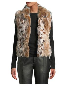 Animal Print Rabbit Fur Vest by Adrienne Landau