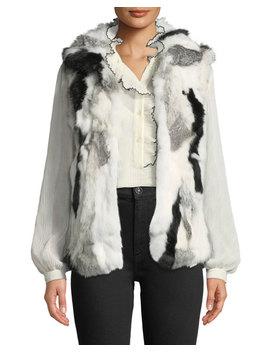 Mottled Rabbit Fur  Vest by Adrienne Landau