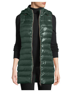 Quilted Puffer Vest W/ Detachable Hood by Herno