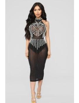 Diamonds And Pearls Mesh Dress   Black by Fashion Nova