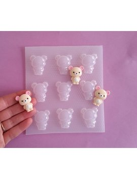 Small Korilakkuma Resin Mold   Rilakkuma Sidekick   Kawaii Bear   Flexible Plastic Resin Molds   Fondant Mold   Jewelry Resin Mold   Bears by Etsy