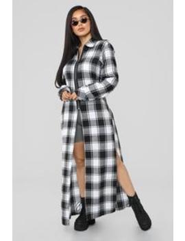 Plaid Obsessed Top   Black/White by Fashion Nova
