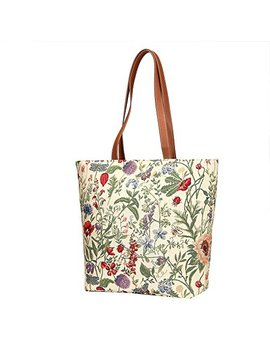Floral Design Women's Tapestry Shoulder Tote Handbag With Poppy Peony And Garden Flowers by Signare