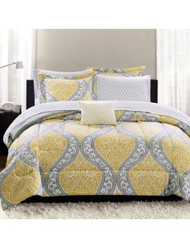 Mainstays Yellow Damask Coordinated Bedding Set Bed In A Bag by Mainstays