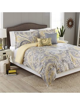 Better Homes And Gardens 5 Piece Comforter Set, Yellow Grey Paisley by Better Homes & Gardens