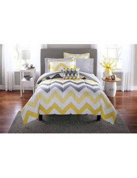Mainstays Yellow Grey Chevron Bed In A Bag Bedding Comforter Set by Mainstays