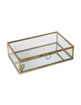 Glass Jewelry Storage Box With Lid Gold/Natural   West Emory by West Emory