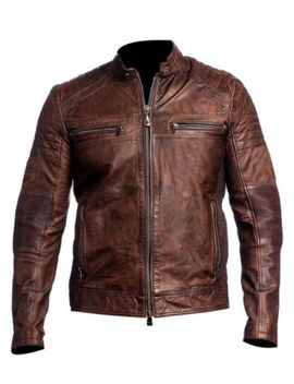Distressed Brown Leather Jacket For Men Brown Biker Jacket by The Leather Empire