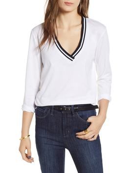 Stripe Trim V Neck Tee by Treasure & Bond