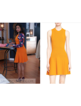 New A.L.C. 'rory' Rib Knit Fit &Amp; Flare Dress  Orange Sun Size L $535 by A.L.C.