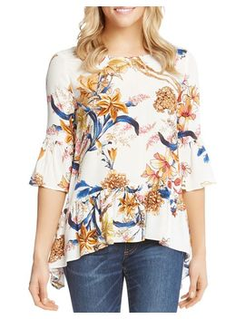 Floral Bell Sleeve Top by Karen Kane