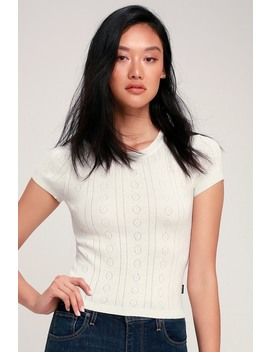 Kapped Ivory Cropped Pointelle Knit Tee by Rvca