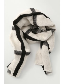 Pomfrey Black And Ivory Plaid Oversized Scarf by Lulus