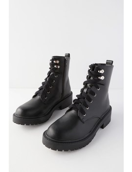 Alicee Black Lace Up Combat Boots by Madden Girl