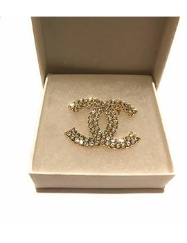 Chanel Brooch Inspired With Crystal Gold Cc Pin by Chanel