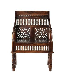 Maharaja Walnut Wood Hand Carved Arm Chair by Home Decorators Collection