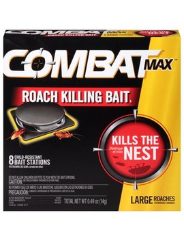 Combat Max Large Roach Killing Bait Stations, Child Resistant, 8 Count by Combat