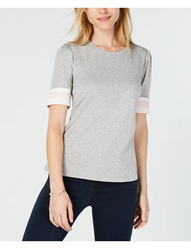 Puffed Sleeve Varsity Stripe Knit Top, Created For Macy's by Maison Jules