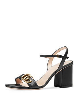 Leather Gg Block Heel Sandals by Gucci