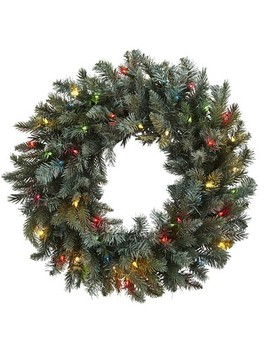 "Pine Wreath With Led Colored Lights   Green (30"") by Nearly Natural"