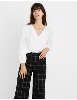 V Neck Button Down Shirt In White by Madewell