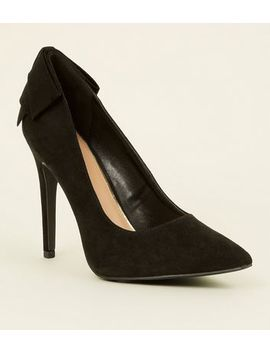 Wide Fit Black Suedette Bow Back Courts by New Look