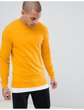 Asos Design Muscle Sweatshirt In Yellow With Hem Extender by Asos Design