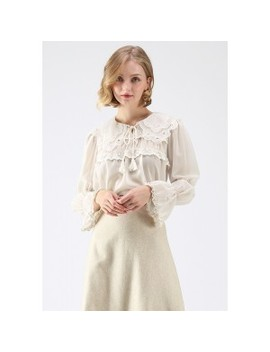 Rare Loveliness Tassel Chiffon Top In Cream by Chicwish