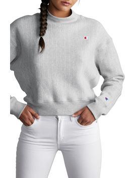 mock-neck-reverse-panel-crop-sweatshirt by champion