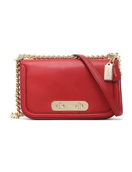 Chain Trimmed Leather Shoulder Bag by Coach