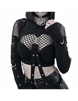 Enfei Womens Sexy Hollowed Hoodies Bandage Metal Crop Tops Hooded Pullover Sweatshirts For Gothic Girl by Enfei