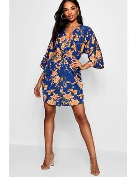Tall Floral Knot Front Kimono Dress by Boohoo