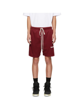 Red Mesh Logo Shorts by Essentials