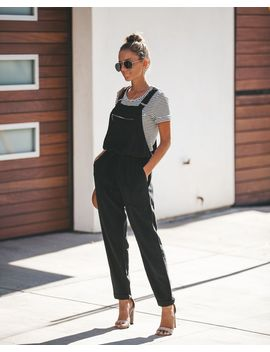 Journey Tencel Drawstring Pocketed Overalls   Black by Vici