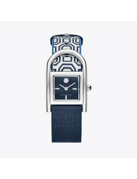 Thayer Watch, Navy Leather/Stainless Steel, 25 X 39 Mm by Tory Burch