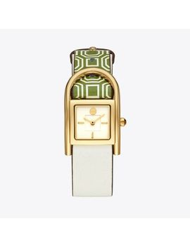 Thayer Watch, Green Leather/Gold Tone, 25 X 39 Mm by Tory Burch