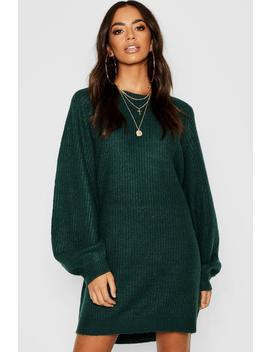 Crew Neck Fisherman Rib Jumper Dress by Boohoo