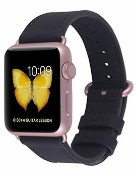 Compatible Iwatch Band 38mm 40mm   Peak Zhang Women Genuine Leather Replacement Strap With Rose Gold Adapter And Buckle Compatible Series 4 (40mm) Series 3 2 1 (38mm), Black by Peak Zhang