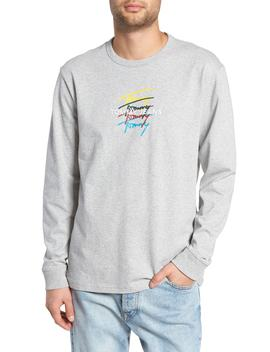 Repeat Signature Embroidered Long Sleeve T Shirt by Tommy Jeans