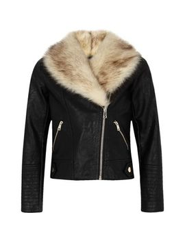 Girls Black Faux Fur Trim Biker Jacket by River Island