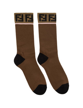 Brown 'forever Fendi' Socks by Fendi