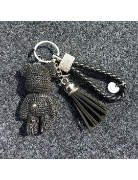 Teddy Bear Keychain Rhinestone Bear Pendants Leather Tassel Rope Ring Car Keys Ring For Women Bling Glitter Bear Charms by Etsy
