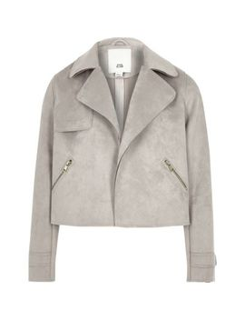 Girls Grey Faux Suede Trench Jacket by River Island