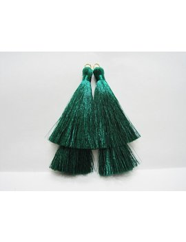 1 Pair Green Double Metallic Tassel, Metallic Tassel, Double Tassel, Tassel Earrings, Green Tassel, Green Metallic Tassel, Tassel Supplies by Etsy