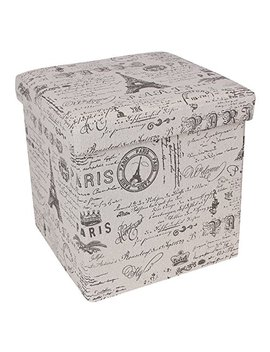 """Songmics 15"""" X 15"""" X 15"""" Storage Ottoman Cube / Footrest Stool / Puppy Step / Coffee Table, Holds Up To 660lbs, Linen Like Fabric, Script Pattern Ulsf30 X by Songmics"""