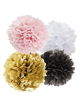 16pcs Tissue Paper Pom Pom White Pink Gold Black Paper Flower Ball Decoration Tissue Ball Paper Decoration For Baby Shower Parisian, French, Paris, Pink, Pink And Black Birthday Party Ideas by Furunxin