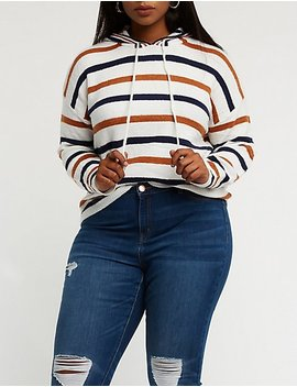 Plus Size Striped Drawstring Hoodie by Charlotte Russe