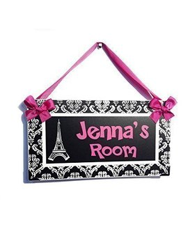 Personalized Eiffel Tower Paris Themed Teenagers Bedroom Door Plaque, Hot Pink With White Damask Pattern by Amazon