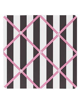 Sweet Jojo Designs Pink, Black And White Stripe Paris Fabric Memory/Memo Photo Bulletin Board by Sweet Jojo Designs