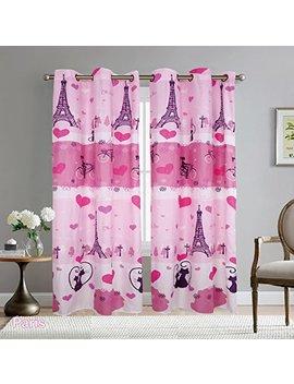 Elegant Home Paris Eiffel Tower Bonjour Design Multicolors Pink Girls/Kids Room Window Curtain Treatment Drapes 2 Piece Set With Grommets # Paris by Elegant Home